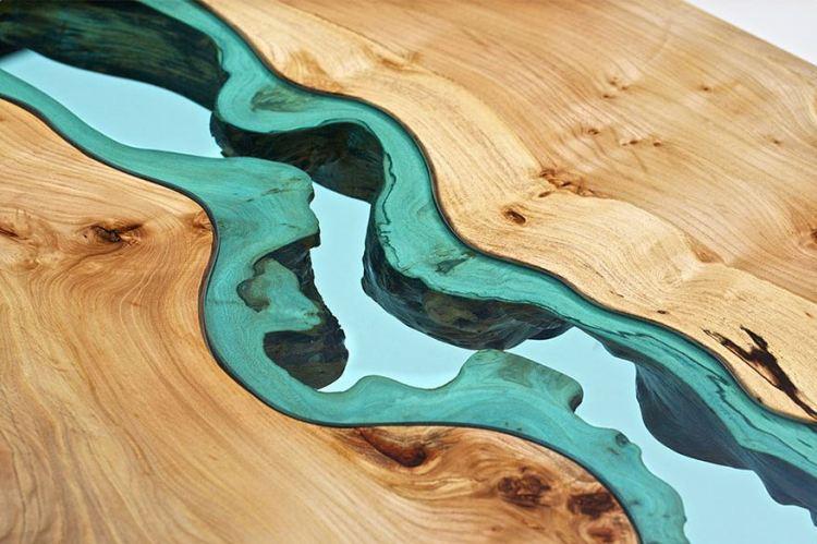 FOTO Mese cu design incredibil din lemn si rauri de sticla