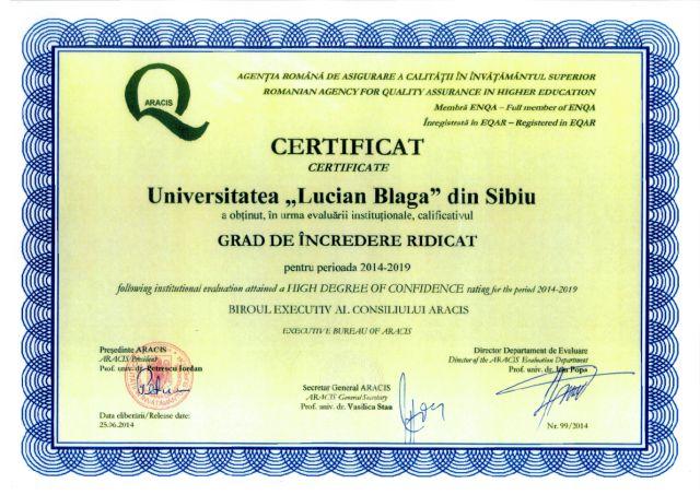 ULBS Sibiu a primit Certificatul Grad de Incredere Ridicat!3