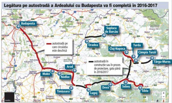 harta autostrazi ardeal-budapesta