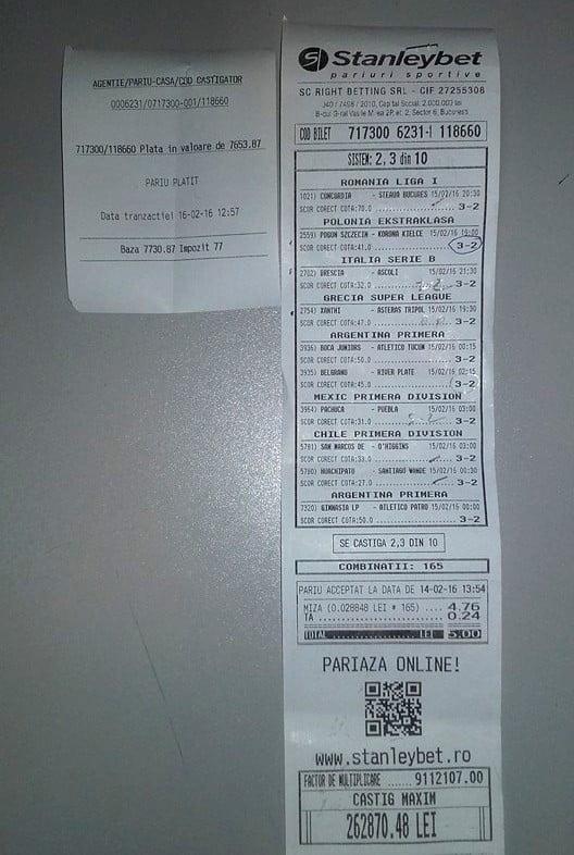 bilet castigator la pariuri stanleybet sibiu 1